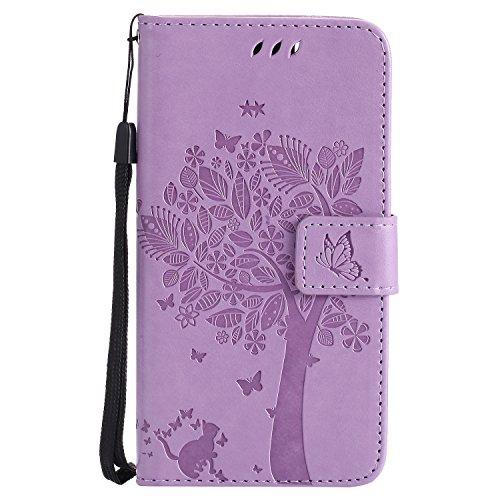 Huawei GR3 / P8 Lite SMART Hülle, Chreey Prägung [Katze Baum] Muster PU Leder Hülle Flip Case Wallet Cover mit Kartenschlitz Handyhülle Etui Schutztasche [Hell lila]