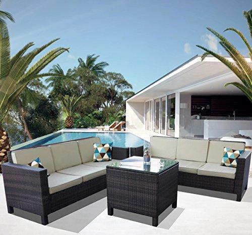 divano angolare in rattan sintetico da esterno giardino mod. Afef n. 2 divani tre posti con tavolino
