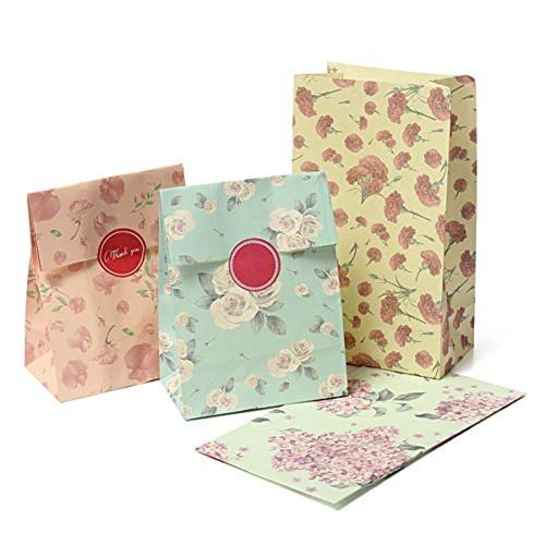YouN Unterbrechen 12Blumen Floral Papier Geschenk Tüte Xmas Party Urlaub Cookies Tasche Aufkleber