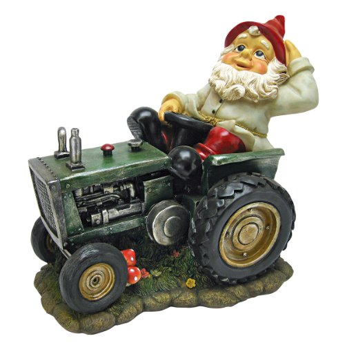 Design Toscano Ploughing Pete on His Tractor Garden Gnome Statue