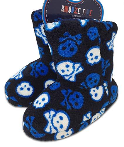 Snooze Time Boys Soft Cosy Fleece Pyjama Slipper Boots
