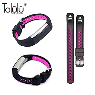 For Fitbit Alta / Alta HR Colorful Hollow Watch Band Bangle Strap Bracelet+Metal Buckle For Fitbit Alta / Alta HR Sports Silicone Accessory Band Strap Wristband Bracelet -Black/Hot Pink