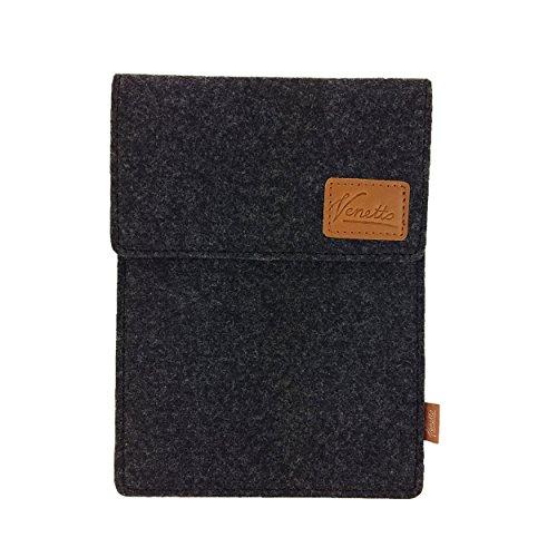 Venetto Tasche für eBook-Reader Hülle aus Filz Sleeve Schutzhülle für Kindle Kobo Tolino Sony Trekstor Schwarz meliert -