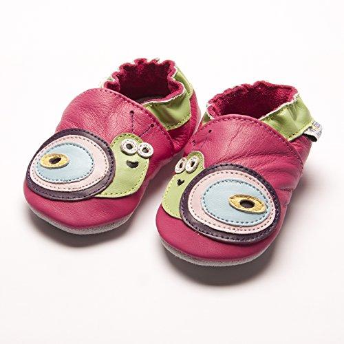 Jinwood designed by amsomo - Girls - Maedchen - Hausschuhe - Lederpuschen - Krabbelschuhe - soft sole / mini shoes div. Groeßen snail fuchsia soft sole