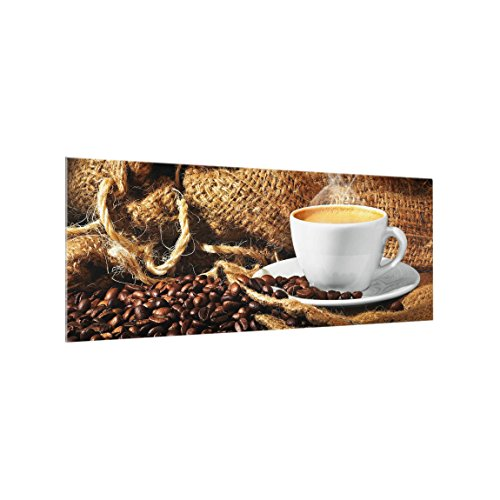 Bilderwelten Spritzschutz Glas - Kaffee am Morgen - Panorama Quer, HxB: 40cm x 100cm