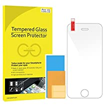JETech Apple iPhone SE 5 5S 5C Film Protection en Verre trempé écran protecteur ultra résistant Glass Screen Protector pour iPhone 5/5S/5C/SE (Clair)
