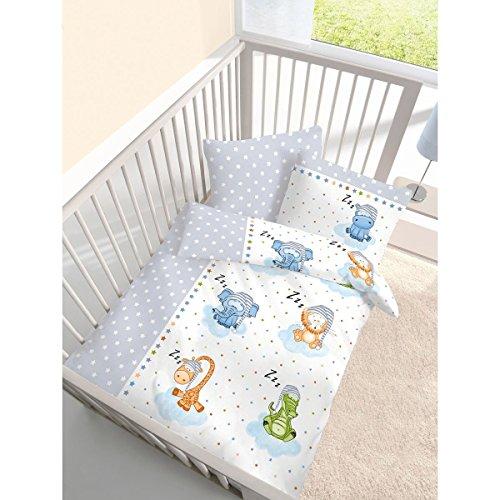 """Fein Biber Baby Kinder Bettwäsche """" Sleeping ZOO Stars """" Tiere & Sterne in silber, grau - Größe 40x60 + 100 x 135 cm - hergestellt in Deutschland"""