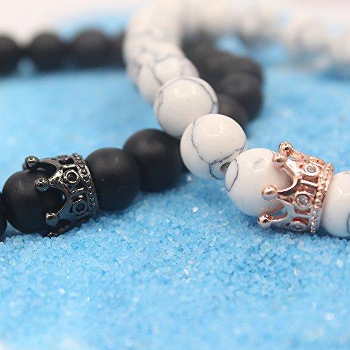 UEUC Armband mit CZ Kronen König und Königin schwarz Matte und weiß Howlite 8 mm Beads Armband