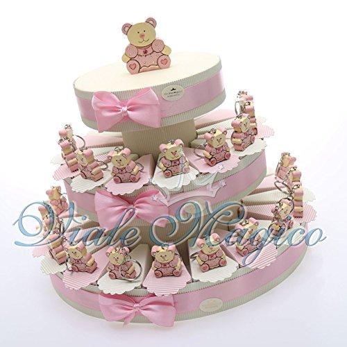 Bomboniere economiche nascita battesimo torta bomboniera 35 pezzi porta confetti con portachiave orsetto bimba in offerta spedizione gratuita