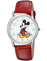 Disney Men's 'Mickey Mouse' Quartz Metal Casual Watch, Color:Red (Model: WDS000402)