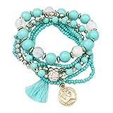 Bellelove Femmes Élégant Bracelets Élastique Multicouche Perles Jade Pas Cher Bracelets Bracelet Acrylique Bracelet Glands Bracelets Match Dress (Bleu Ciel)