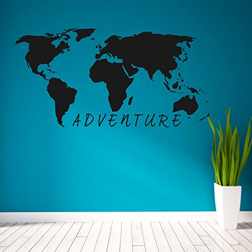 Vinilo adhesivo Mapa mundo Adventure negra decoracion