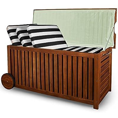 Holz Auflagenbox mit Rädern 117cm AKAZIE Kissenbox Gartenbox Gartentruhe Truhe von Deuba bei Du und dein Garten
