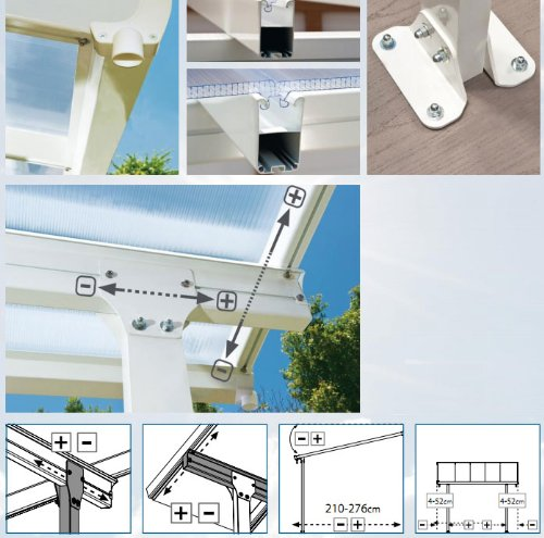 Hochwertige ALU Terrassenüberdachung/Veranda - 550 x 300 (BxT) / Überdachung/Pergola Palram Feria Weiß - 3