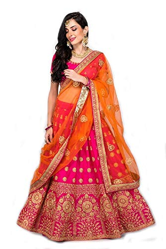 Queen of India women\'s Silk Embroidered multicolour Semi Stitched lehengas, lehenga choli