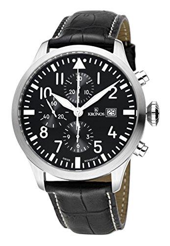 KRONOS - Pilot Automatic Chronograph Black 991.55 - Reloj de Caballero automático, Correa de Piel Negra...