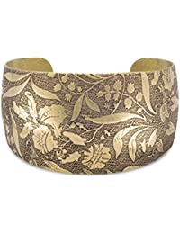 Antique Brass Cuff Bracelet Floral Design Graduates 36mm To 23mm