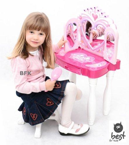 Best For Kids Schminktisch für Prinzessinen mit Hocker Schönheitsstudio – drei Spiegel - 2