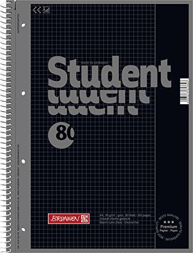 Brunnen 1067926190 Notizblock / Collegeblock Student Colour Code (A4 kariert, Lineatur 26, 90 g/m², 80 Blatt) schwarz