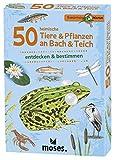 Moses Expedition Natur - 50 heimische Tiere und Pflanzen an Bach und Teich| Bestimmungskarten im Set | Mit spannenden Quizfragen