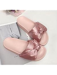 Lazo romano de la seda de la manera de las muchachas de lazo de los deslizadores de los zapatos ocasionales planos planos de la UE del dedo del pie abierto 35-39 , pink , 35