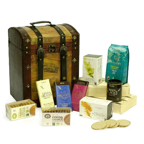 Deluxe Organic Tea, Coffee and Cocoa Gift Hamper Presented in a Vintage Style Chest - Gift Ideas for Christmas presents, Birthday, Anniversary and Corporate