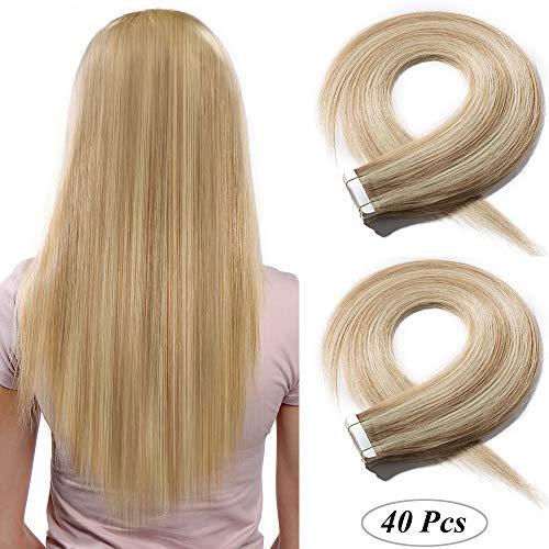 Extension capelli veri biadesivo 40 fasce biadesive 100g tape extensions adesive 55cm 100% remy human hair biondi (#18p613 biondo cenere mix biondo chiarissimo)