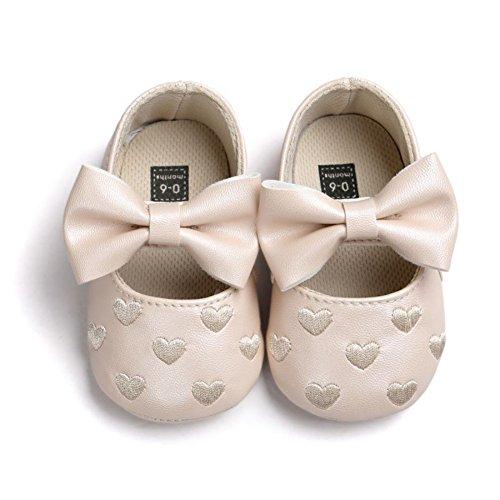 Brightup Baby Mädchen Prewalker Sweet Love Herz Bowknot Anti-Rutsch Soft Sole Leder Schuhe Champagner