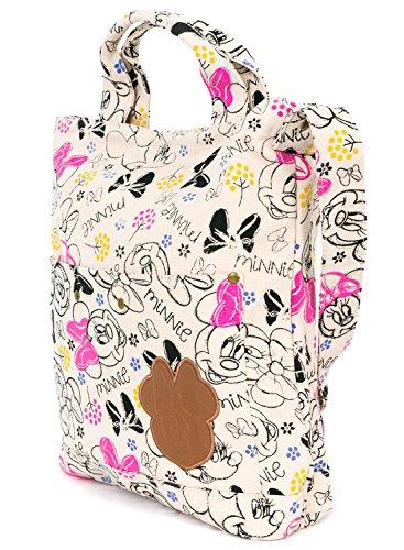 ililily Disney Mickey Minnie Sketch Zeichentrick Persönlichkeit Baumwolle Kanevas Umhängetasche Tasche, Minie Pink
