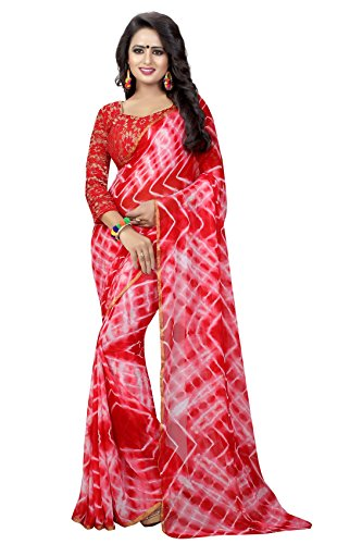 Market Magic World Women's Red White Shiffon Fresh Arrivals Saree With Blouse