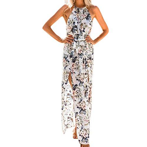 (OYSOHE Damen Vogue Bohemien Kleid, Womens Sommer Print Boho Lange Maxi Abend Party Strand Blumenkleid (S, Weiß))