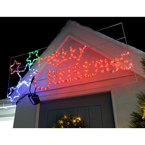 WeRChristmas Animated Merry Christmas Sign with Flashing Stars Rope Light Silhouette Christmas Decoration, 124 cm - Large, Multi-Colour