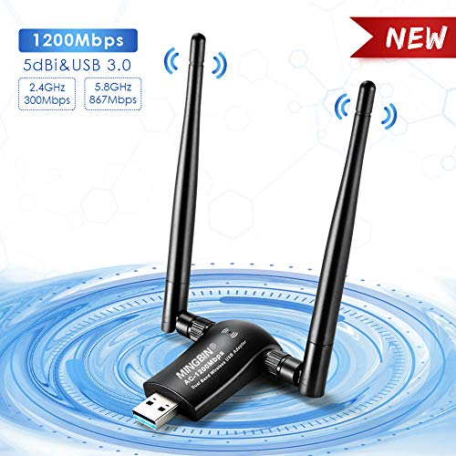 MingBin USB WiFi Adapter 1200Mbps, USB 3 0 Wireless Adapter,Dual Band  Detachable Wifi Antenna 2 4G/5G 802 11 AC WiFi Dongle for  Desktop/Laptop/Tablet,