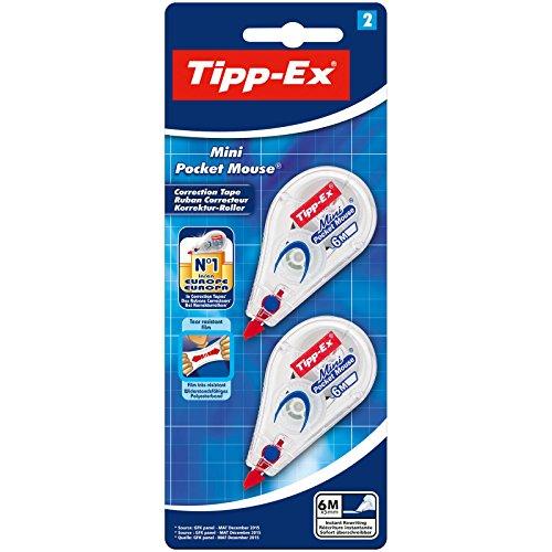Tipp-Ex Mini Pocket Mouse Korrekturroller - Korrekturband 6 m x 5 mm - Blister à 2 Stück, weiß
