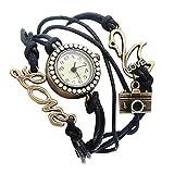Souarts Noir Multi Rangs Montre Bracelet Infini avec Breloque en Forme de Appareil Photo Lettre Love