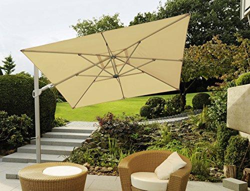 Modello: Saint Tropez-Pinze Berg-GERMANY-Il tuttofare-Ruotare laterale + inclinazione laterale-Ombrellone-270x 270cm Ø-colore beige STABIELO-360° girevole superiore a pedale-Ombrellone parasole-La universale-con supporto per cellulare e pannello (senza piastre)-100% poliestere circa 240G/m² UPF 50+ Resistente alle intemperie-Modello: Saint Tropez-Pinze Berg-GERMANY-colore-Beige-distribuzione-holly-sunshade ®-I costi Speditions sono incluse-Barattolo-limitata pezzi numero solo finché nel prezzo-costi Speditions incluse nel prezzo