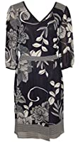 Ladies Ex Marks & Spencer Limited Collection black bold print dress with 3/4 length sleeves