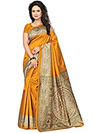 Varayu Women's Printed Poly Silk Saree With Unstitched Blouse Piece