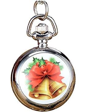 JSDDE Weihnachtsuhr Cute Weihnachts-Glocken Taschenuhr Klassisch Mode Xmas Umhängeuhr Kettenuhr Quarz Uhren