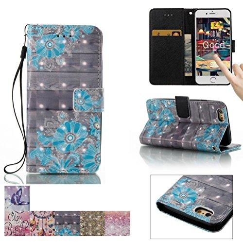 iPhone 6Plus/6S Plus Fall, firefish [Ständer] [/Cash Slots] Flip Cover Impact Dispersion Brieftasche mit Handschlaufe für Apple iPhone 6Plus/6S Plus 14cm Apple iPhone 6 Plus/6S Plus blaue blume