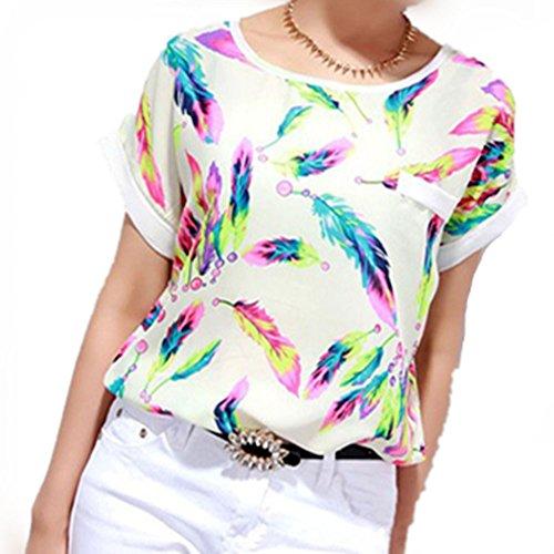 LHWY Las Mujeres Plumas Gasa Casual de Manga Corta Camiseta Suelta (XL)