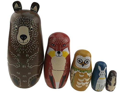 Eule-geschenk-korb (Set von 5Tier Thema glänzend russischen Puppe Bär Fox Eule Kaninchen Maulwurf handgefertigt Puppe Entwicklung von Fähigkeiten Geschenk für Jungen/Mädchen Weihnachten Geschenk Idee)