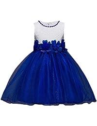 Lonshell _Hochzeit Party Kleid Vestido sin mangas para niña estilo princesa, para Navidad, bodas, dama de honor (Azul,…