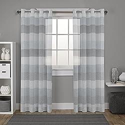 """DEZENE cortinas de voile rayas para la sala 2 x 54"""" x 102""""(140x260cm) Blanco y negro gris"""