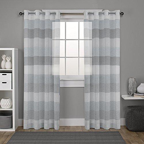 Dezene strisce voile tende per soggiorno–2pannelli–tenda con occhielli, effetto lino, tessuto, black gray and white, 2 x 54