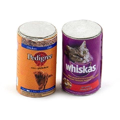 MyTinyWorld Dolls House Miniature Set of 2 Pet Food Cans