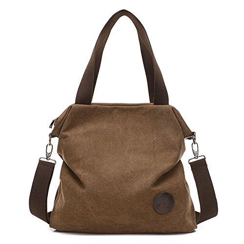Damen praktisch und schön große Kapazität canvas Handtasche Schultertasche Braun