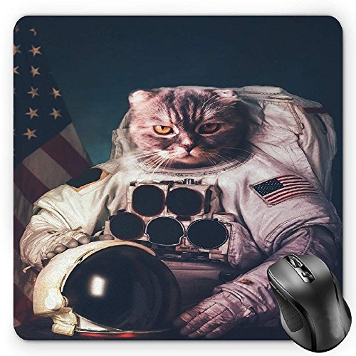 HYYCLS Space Cat Mauspads, Vintage Image Astronaut Kitty with American Flag Patriot Animal, Standard Size Rectangle Non-Slip Rubber Mousepad, White Red and Dark Blue -