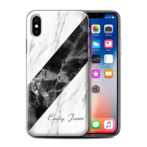Stuff4® Personalisiert Individuell Marmor Hülle für Apple iPhone XS/Schärpe/Unterschrift Design/Initiale/Name/Text Schutzhülle/Case/Etui