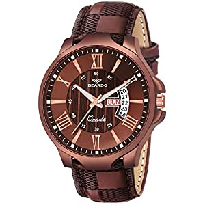 Beardo Analogue Brown Dial Leather Strap Day and Date Men's